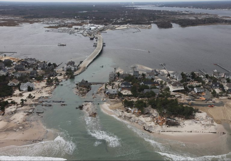 Aerial photo of Mantoloking, New Jersey after Hurricane Sandy
